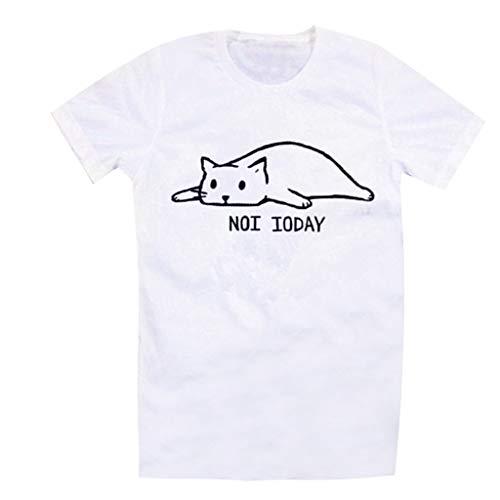 Yezijin_Damen-T-Shirt mit Buchstaben Bedruckt, kurzärmelig, süßes Katzen-Design, für den Sommer, Casual Tank - weiß - XX-Large