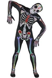 SUGAR SKULL - BODYSUIT/SKINSUIT -ORIGENAL = VON ILOVEFANCYDRESS®= DAS PEFEKTE KOSTÜM FÜR FASCHING UND KARNEVAL ODER JEDE ART DER VERKLEIDUNG= DIESER GANZKÖRPER ANZUG IST ERHALTBAR IN 5 VERSCHIEDENEN GRÖSSEN = (Skin Suit Skelett)