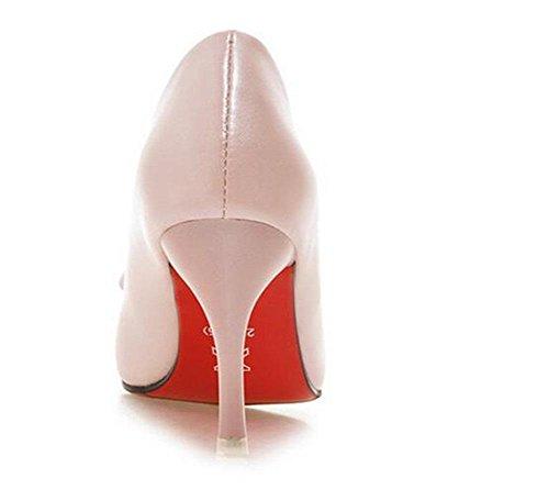 singoli pattini punta a punta di colore solido bocca superficiale elegante dolce del vento sottile con tacchi alti Scarpette pink