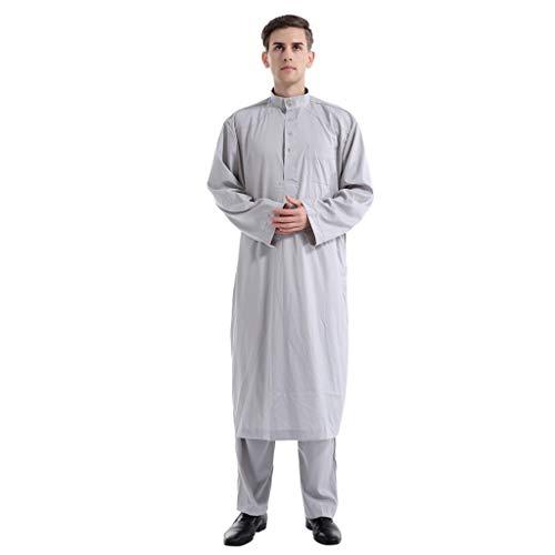 ALISIAM Kleidung,Männer Ethnische Langarm Islamische Moslemische Mittlere Osten Maxi Robes Hose Suite Kaftan einfarbige Zweiteilige Herrenroben