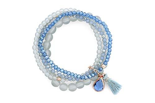 Lizas vierreihiges Armband mit Quaste und Anhänger (Blau)