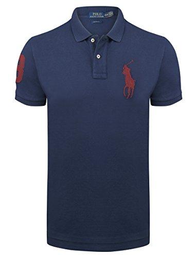 Ralph Lauren Herren Poloshirt Red Big Pony Custom Fit Newport Navy L (Big Pony Shirt)