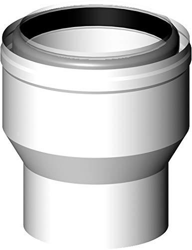 Almeva LAS Kesselanschluss PPH/Stahl weiß raumluftunabhängige Betriebsweise Kesselstutzen 60/100 auf 80/125