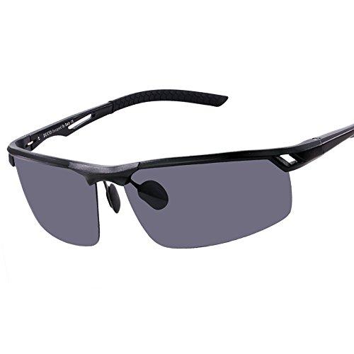 Duco Herren Sport Stil Polarisierte Sonnenbrille Metallrahmen Brille 8550, Schwarz/Grau