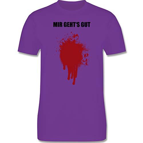 Halloween - Mir geht's gut Blutfleck Kostüm - S - Lila - L190 - Herren T-Shirt Rundhals