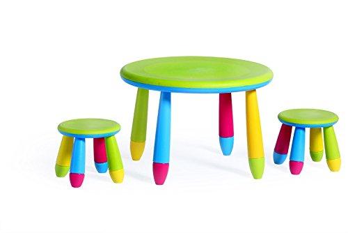 Kinderstuhl-Tisch Hocker in leuchtenden Farben. Robust und leicht zu reinigen. Für Innen- und Außenbereich geeignet, Farbe:Multi