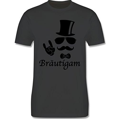JGA Junggesellenabschied - Bräutigam Hipster Suit up - Herren Premium T-Shirt Dunkelgrau