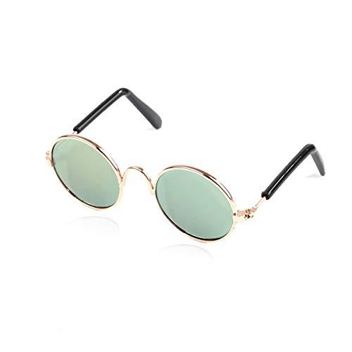 Beofine Pet Sonnenbrille Metallrahmen Brillenschutz Sonnenbrille Niedliche runde kleine Hundekatze Sonnenbrille für Haustierzubehör,LightGreen