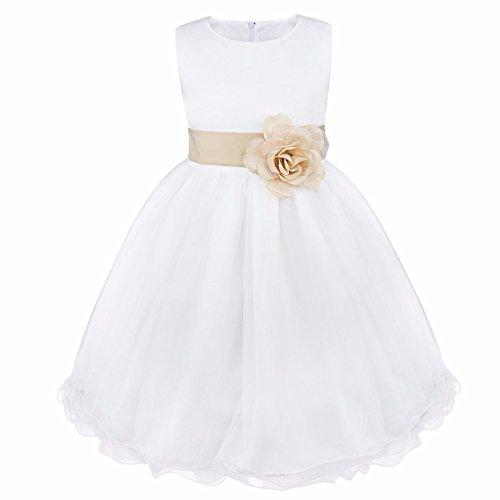 iEFiEL Vestido Blanco de Princesa Fiestas Boda para Niñas Vestidos Elegantes de Noche Beige Oscuro 10 Años