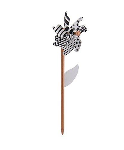Windrad Blume mit schwarz-weiß Muster, drei Größen zur Wahl, small (35 cm), medium (50 cm) und large (83 cm) , als Gartenstecker oder Deko für Balkon / Terrasse, Kunststoff, Metall, Holz, Größe:medium