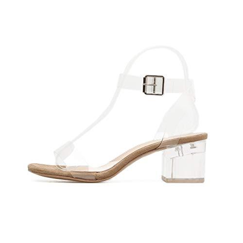 Nuovo Cinturino con Fibbia Quadrata da Donna in PVC Trasparente Scarpe da Matrimonio, Verde (Kaki), 37 EU