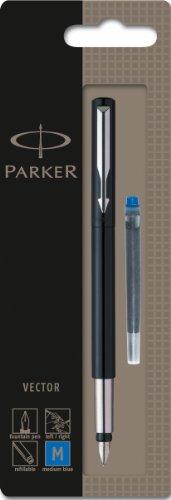 Parker S0881041 Vector Füllfederhalter (schwarz mit edelstahleinfassung, mittlere Schreibfeder, Blisterpackung)
