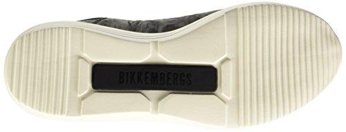 Bikkembergs Speed 581 L.Shoe M Leather/Lycra, Pompes à Plateforme Plate Homme, Noir Noir (Black/Origami Embroidery)