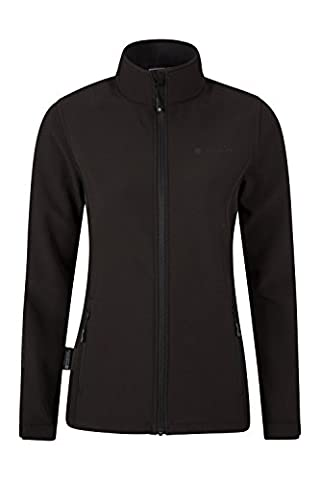 Mountain Warehouse Hollen Women's Soft-shell Jacket - Water-Resistant, Breathable Fabric with Fur Lining & Adjustable Hood with an Elastic Draw Cord & Two Zipped Pockets Black