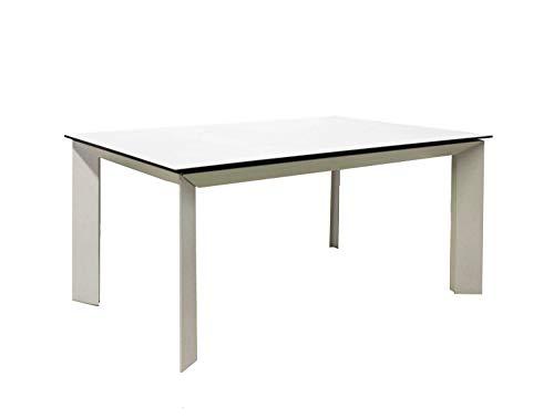 Meubletmoi Table Extensible en Verre et céramique Blanc 140/230 cm - Structure métal - Design Contemporain Haute qualité - Table à dîner rectangulaire Robuste - Venus