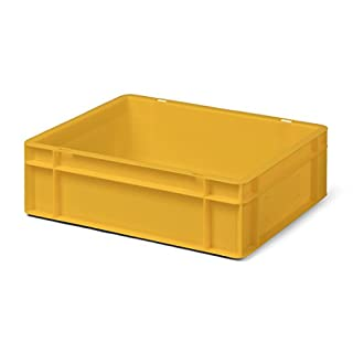Euro-Transport-Stapelbehälter/Lagerbehälter, gelb, 400x300x120 mm (LxBxH), Wände u. Boden geschlossen