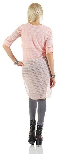 Mr. Shine - Damen Langarm Vokuhila Bluse Hemd Shirt Sweatshirt Oberteil Tops Inkl. Kette In Größe S, M, L, XL, XXL Rosa