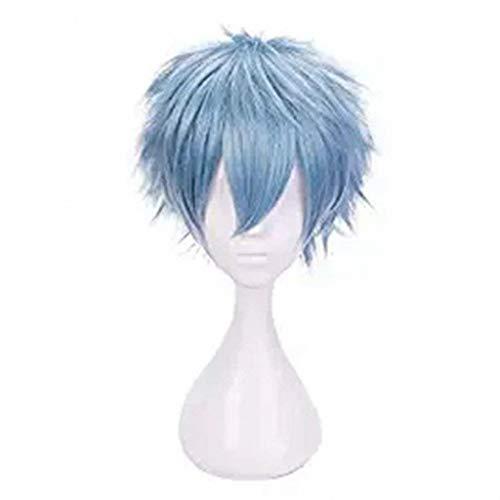 LZT Kurze Grau Blau Haar Synthetische Perücken Anime Cosplay Perücke für My Hero Academia Shigaraki Tomura mit Freie Perücke Kappe (Grau (Kurze Blaue Perücke)