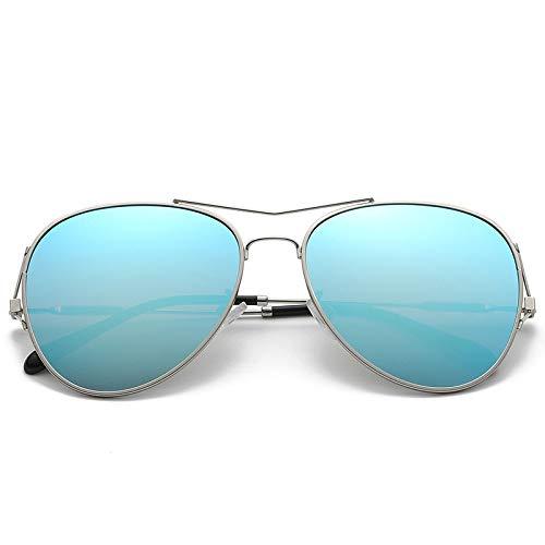 Trendy Fashion Metall Sonnenbrille personalisierte Farbfilm Wilde dekorative Gläser Unisex Fahrspiegel Silberrahmen eisblau