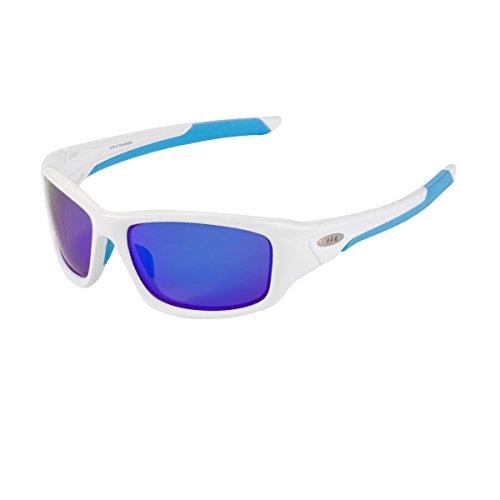 YUFENRA Polarisierte sportliche Sonnenbrille für Outdoor-Aktivitäten wie Radfahren, Autofahren und Angeln (Weißen Rahmen/Blau Spiegellinse)