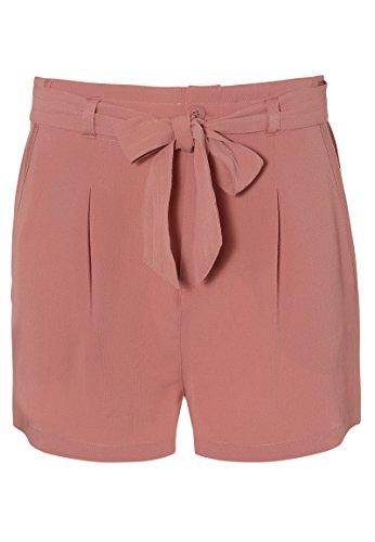Fresh Made Damen Crepe Shorts mit Bundfalten und Gürtel   Elegante Kurze Hose mit mittelhoher Taille dark-rose M