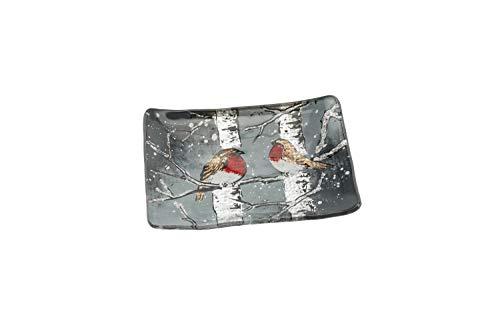 CGB Giftware's Winter Rotkehlchen Glas Kleine rechteckige Schale aus der Winter-Hirsch-Kollektion - Weihnachten - Geschirr