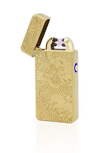 TESLA Lighter T08 Lichtbogen Feuerzeug, Plasma Double-Arc, elektronisch wiederaufladbar, aufladbar mit Strom per USB, ohne Gas und Benzin, mit Ladekabel, in Edler Geschenkverpackung, Drache Gold