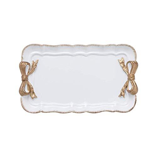 JYTBD YUNTAO Resin Tray, Romantische Vergoldete Bogen Schmuck Tray Dessert Tray, Rosa Macarons Farbe Optionales Fach (Farbe: PINK) (Color : White) -