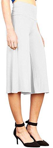 Happy Lily Yoga Hosen mit hoher Taille, breiten Beinen, Culottes Palazzo Bell für Frauen., damen, weiß (Taille Elastische Hose Uniform Scrub)