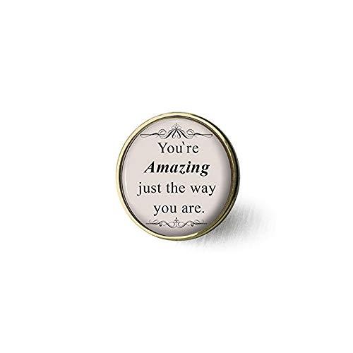 bab Brosche mit Zitat Bruno Mars - Silberschmuck, Geschenk für Sie - You're Amazing just The Way You Are Brosche - Buch Bibel Zitat Anhänger - religiös