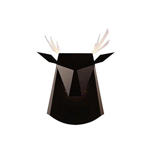 HTRPF Kreatives Wohnzimmer Esszimmer Moderne minimalistische Eisen Hirsch Kopf Wand Lampe , black