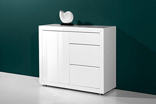 Kommode in Hochglanz weiß lackiert, 3 Schubladen mit Selbsteinzug und 1 Schranktür, Maße: B/H/T ca. 106/90/40 cm
