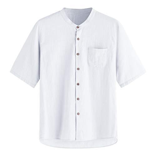 Yowablo Tops Bluse Herren Baggy Solide Baumwolle Leinen Kurzarm Knopf Tasche T Shirts (XL,Weiß) -