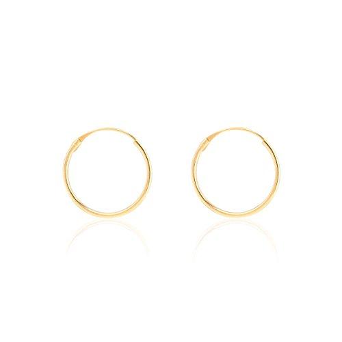 Pendientes Oro Aro Liso 14X1 mm
