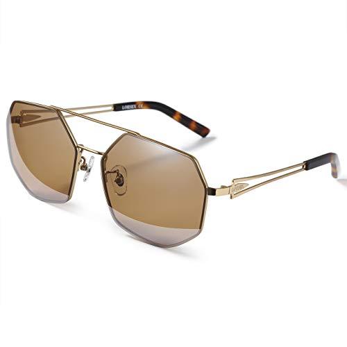 LORSEX Sonnenbrille Damen Herren Metall Rahme Ultra Leicht Visier Sonnenbrille Unisex UV 400 Schutz (Brau)
