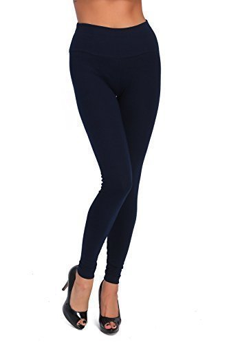 Futuro Fashion Full Length High Waist Cotton Leggings All Colours All Sizes Active Pants Sport Trousers LWP Navy 20/22 UK (XXXL)