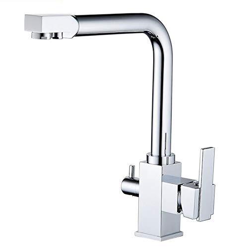 Filtro de agua de 3Vía Cocina Grifo de 360° Giro Bar latón cromo cocina grifos Dos palanca mezclador fregadero grifo 2salidas para sistemas de ósmosis Agua del grifo Agua potable