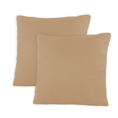 SHC - Kissenbezug 2er-Set für Kopfkissen, 100% Baumwolle mit Reißverschluss - 80x80 cm, Sand/Cappuccino -