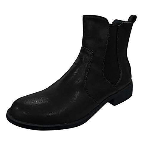 feiXIANG Damen Stiefel Fashion Elastic Band Short-Tube Boots Low Heeled Freizeitschuhe Round Toe Bikerboots (Schwarz,39)