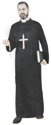 Prediger Kostüm - Smartes Priester-Kostüm Pfarrer-Kostüm Grösse 52 / 54 L 2 Teile Robe Gewand Schwarz Herren Erwachene Prediger Kreuz Kutte Mönch