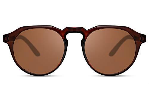 Cheapass Sunglasses Sonnenbrillen Beliebt Transparent Braun Rund Stil mit flachem Oberrand Männer Frauen