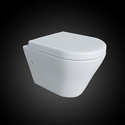 Design Wand Hänge WC ohne Spülrand Spülrandlos Toilette Sitz Softclose hängend 5 - 3