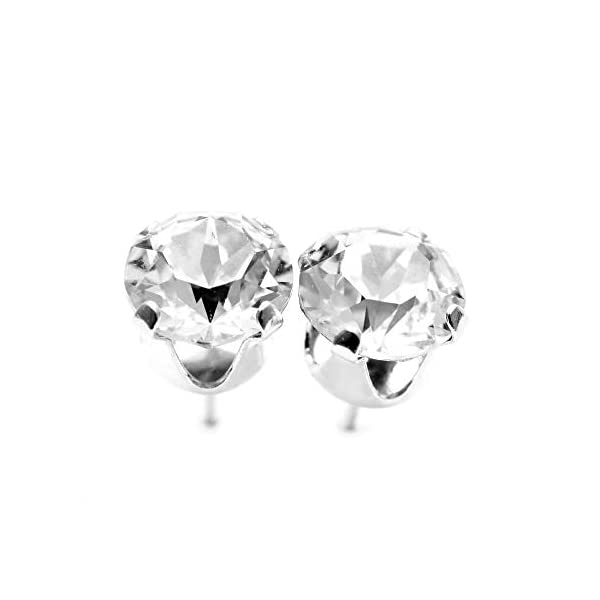 925 Sterling Silver stud earrings for women made with sparkling Diamond  White crystals from Swarovski®  London jewellery box  Hypoallergenic &  Nickle