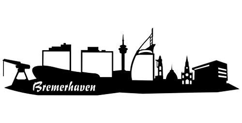 Samunshi® Wandsticker Bremerhaven Skyline schwarz 30x8,8cm