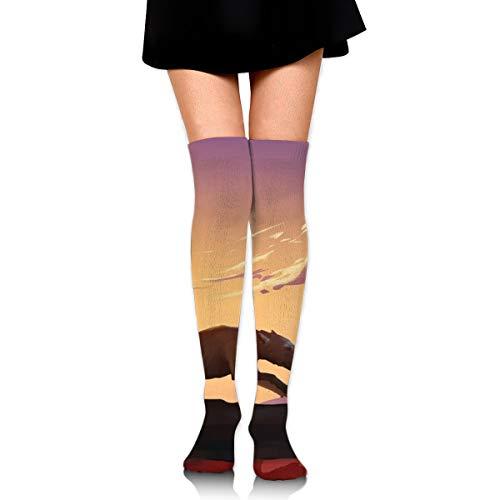 Tag Charakter Kostüm Niedlichen - Bidetu Laufen bei Sonnenuntergang über Knie lange Socke Oberschenkel hohe Socken Mädchen Socken niedlichen Kostüm Strümpfe 25,5 Zoll