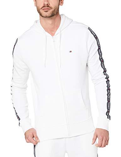 Tommy Hilfiger Herren Logo Zip Hoodie, Weiß, M Logo Hoodie Weiß