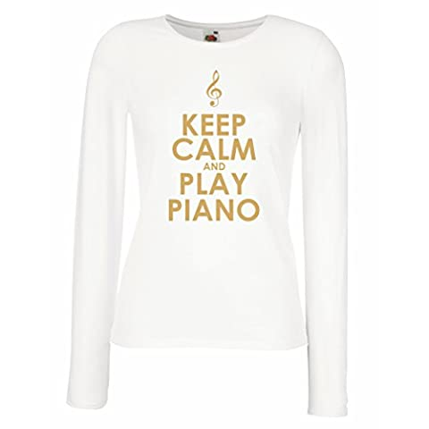 Manches longues Femme T-shirt Play Piano - citations musicales (Medium Blanc Or)