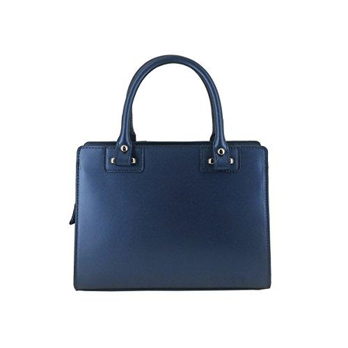 Laura Moretti - Borsa in vera pelle metallica Blu
