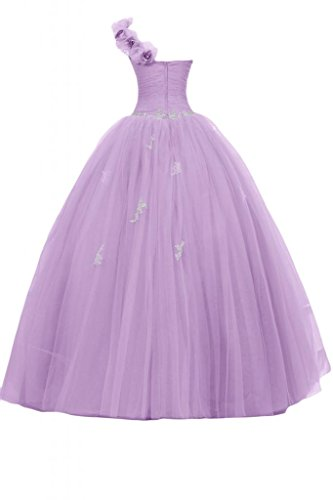 Sunvary Glamour Neu Ein-Traeger Tuell Lang Blumen Abendmode Ballkleider Lilac