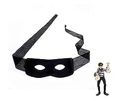TK Gruppe Timo Klingler Schwarz Maske Bandit Augenmaske Zorro Räuber Einbrecher Dieb Bankräuber Panzerknacker Kostüm für Kinder und Erwachsene Kostüm Fasching und Karneval